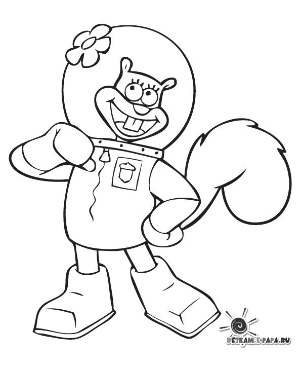 Disegni da colorare per bambini sandy cheeks for Spongebob da disegnare